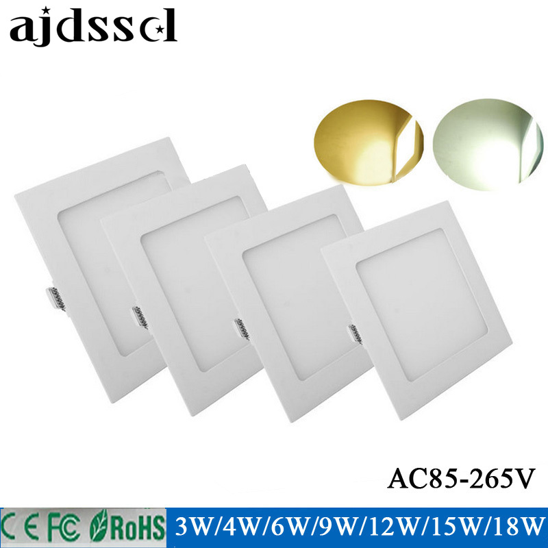 ultra thin LED Square Panel 3W 4W 6W 9W 12W 15W 18W 85-2565VSMD2835 recessed ceiling led panel light downlight White/ Warm white square led panel light smd 2835 3w 6w 9w 12w 15w 18w 20w ac 85 265v led ceiling recessed lamp led downlight driver for indoor