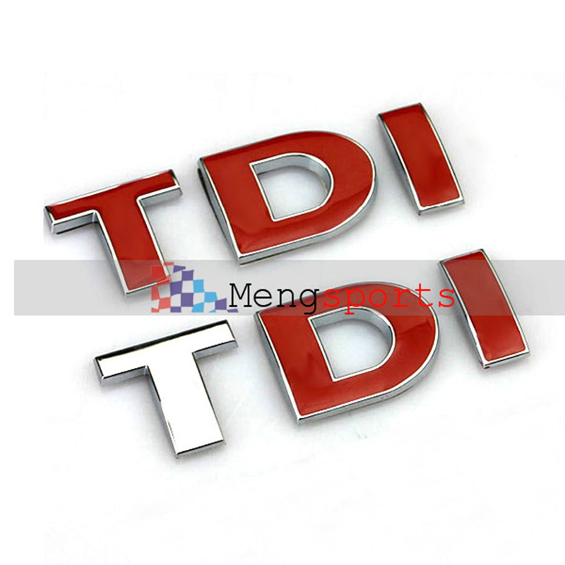 30pcs TDI Chrome Red ABS Car Styling Boot Badges Emblem Sticker Shipping Free