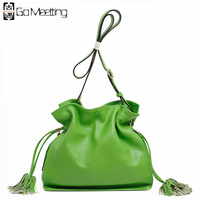 Go Meetting Genuine Leather Women Shoulder Bags Candy Color High Quality Cowhide Crossbody Bags Bucket Ladies