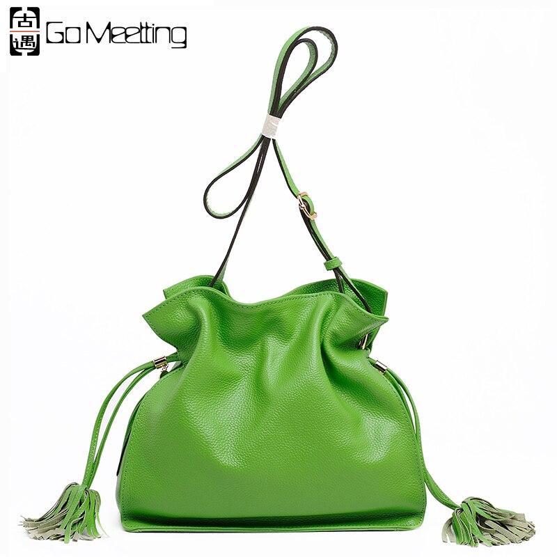 Go MeettingGenuine Leather Women Shoulder Bags Candy color High Quality Cowhide Crossbody Bags Bucket Womens Messenger Bag WD12 candy girl танцовщица go go бикини топ сетка и украшение на шею