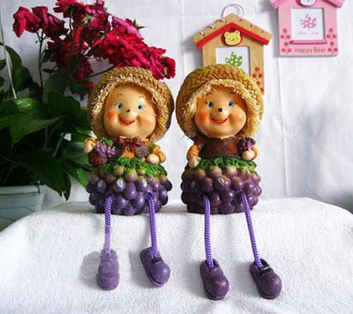 Christmas gift! Free shipping wholesale and retail handcraft painted table decoration one pair of resin grape moppet