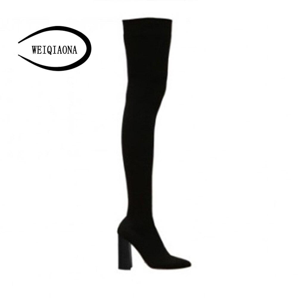 Sexy Femmes Dames Hauts Flock black Longues Hiver Robe Sur Talons Bout genou Weiqiaona Modèle Pointu De Étoiles Inside Bottes Chaussures Boot Le q6AvR4w15