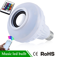 RGB Control Colorful Music LED Light Bulb Bluetooth Speaker Portable Music Smart RGB Bubble Lamp Wireless