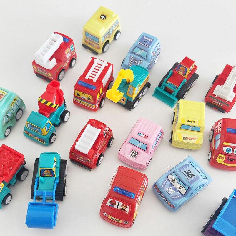 6 pçs/set Para Trás Do Carro Brinquedos Inércia Modelo de Carro de Corrida Mini Veículo de Construção Caminhão de Bombeiros Táxi Crianças Brinquedo Do Bebê Para O Menino presentes