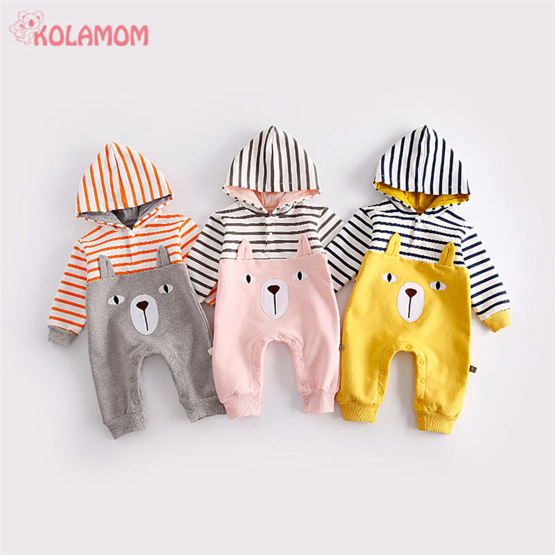 2017 New Cartoon Bear Stripe Newborn baby Rompers Pajamas boys girls Baby cloth Infant Jumpsuit Winter Long Sleeve Cotton romper winter newborn bear jumpsuit patchwork long sleeve baby rompers clothes baby boys jumpsuits infant girls clothing overall