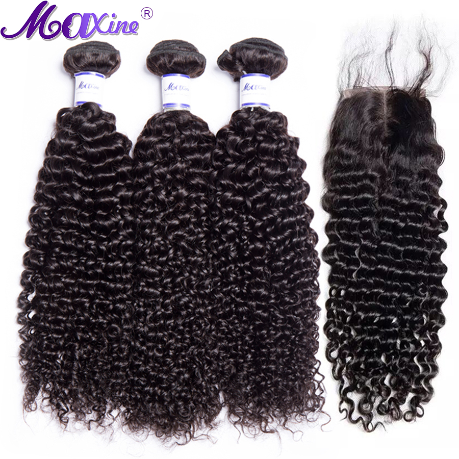 Maxine Hair Kinky Curly Bundles With Closure 3 Bundles Brazilian Remy Human Hair Extension Hair Bundle