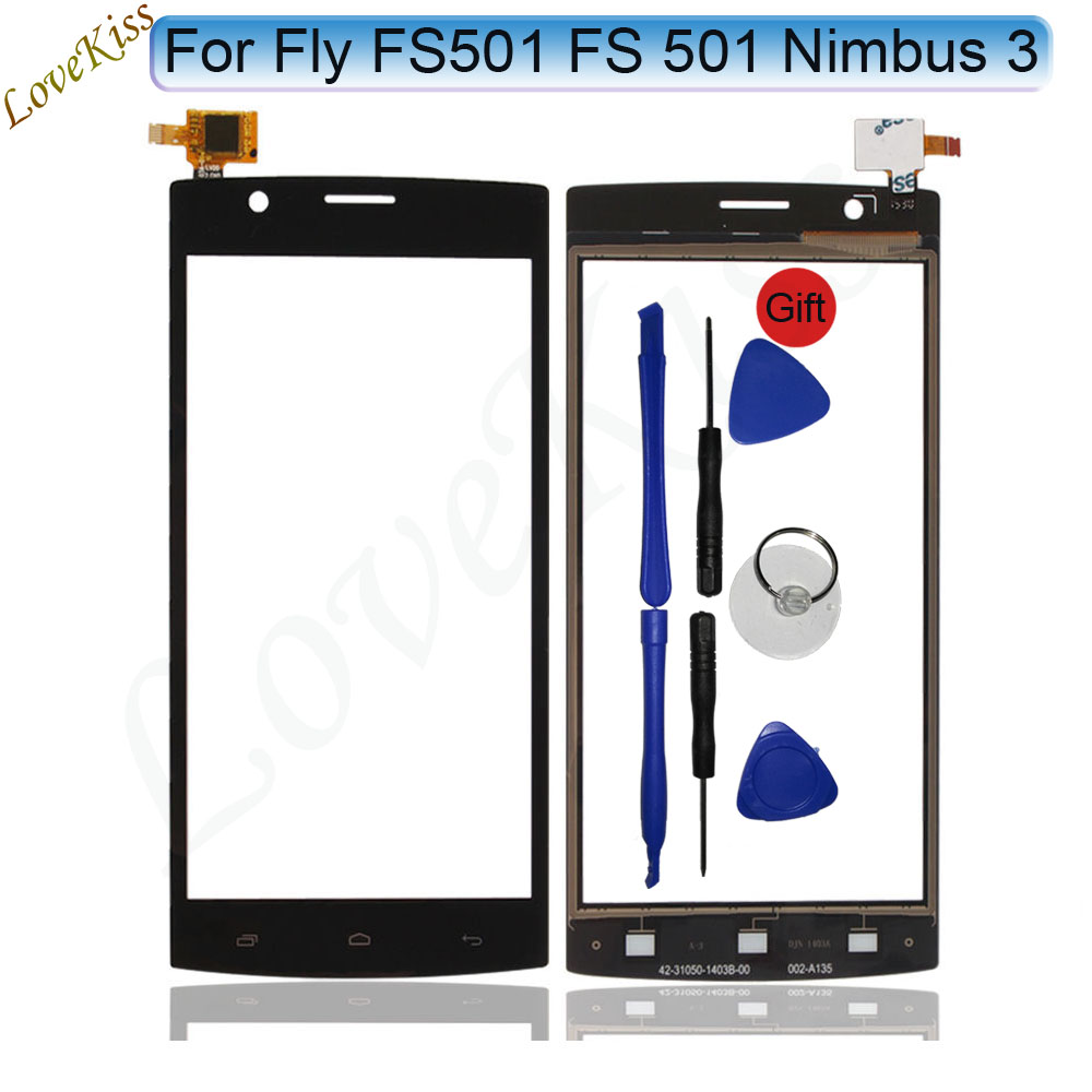 4.5 Front Touch Panel Touchscreen For Fly FS501 Touch Screen Sensor Nimbus 3 FS 501 LCD Display Digitizer Glass TP Replacement