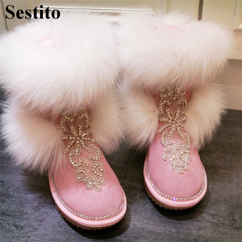 2018 Fashion Crystal Keep Warm Winter Boots Woman Black Round Toe Mid-Calf Boots For Women Flat With Slip-on Casual Women Shoes2018 Fashion Crystal Keep Warm Winter Boots Woman Black Round Toe Mid-Calf Boots For Women Flat With Slip-on Casual Women Shoes