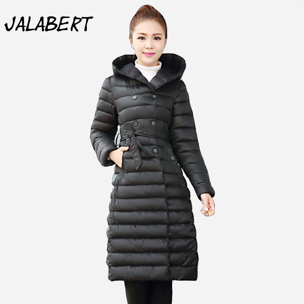 2017 Winter New cotton Jacket Women Long Double Breasted Slim Light Thin Hooded Parkas Solid Warm Long Sleeve Belt Coat 2016 new warm winter coats for women european high end slim belt long double breasted lapel women s long down jacket winter
