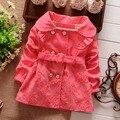 China Meninas Primavera Outono Double Breasted Cardigan Infantil Bebê Crianças Rendas Trincheira Cinto Casaco Crianças Outwear Casacos Para O Bebé