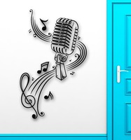 Music Wall Decal Microphone Singer Notes Vinyl Stickers