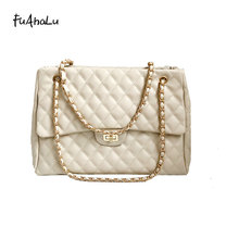 FuAhaLu Autumn new rhombic chain shoulder bag Korean version of the wild handbag fashion Messenger
