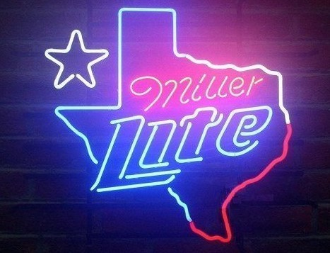 Custom Miller Lite Texas Neon Light Sign Beer Bar