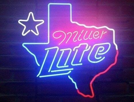 Custom Miller Lite Texas Glass Neon Light Sign Beer BarCustom Miller Lite Texas Glass Neon Light Sign Beer Bar