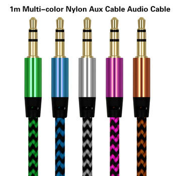 Universal 3.5mm Jack Audio Cable Nylon Braid 3.5mm Car AUX Cable 1.5M Headphone Extension Code for Phone MP3 Car Headset Speaker image