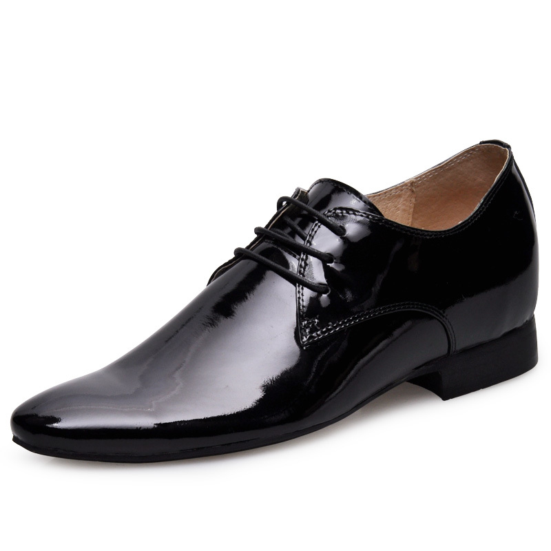 6251_1-Black  Men  Low  Heel Cow  Leather  Elevator  Shoes gain 2.5 inches taller about 6cm