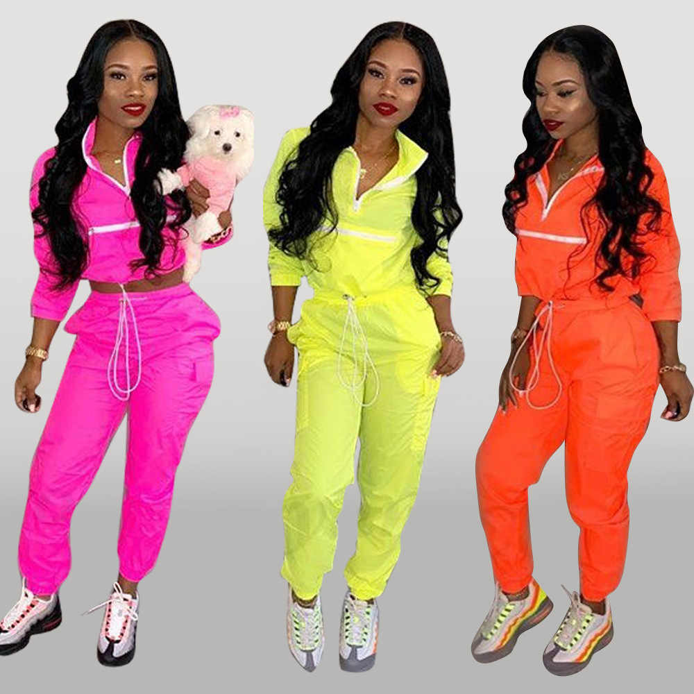 d38bf8dba9 Fall Winter Tracksuit Women Two Piece Set Long Sleeve Top Pant Sweat Suit  Sexy Jogger 2 Piece Outfits Matching Sets Orange 2019