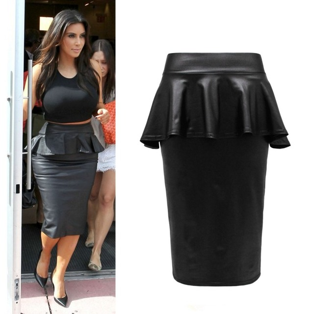 0b0cc69da 2015 Summer Ladies Womens Bodycon Plus Size Black Faux Leather ruffles Midi  Peplum Pencil Skirt Smart Office Skirts Saias Lapis