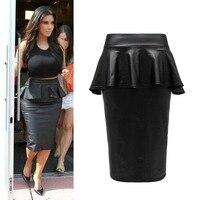 2015 Summer Ladies Womens Bodycon Plus Size Black Faux Leather ruffles Midi Peplum Pencil Skirt Smart Office Skirts Saias Lapis