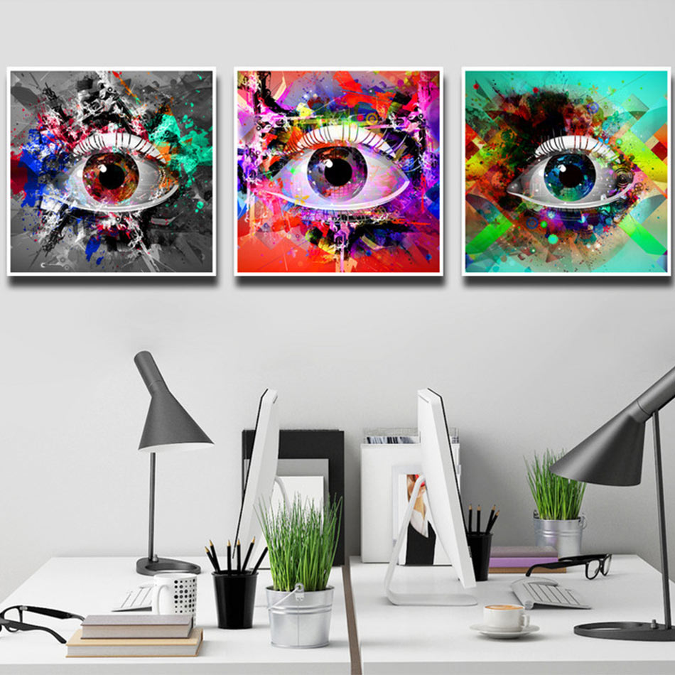 Color art printing anchorage - Watercolor Eyes Canvas Art Print Poster Wall Pictures For Home Decoration Home Decor