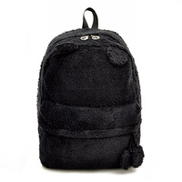 5pcs( ABDB Plush Panda Women's Backpack Shoulder Bag Girls Rucksack Travel School Colors:Black