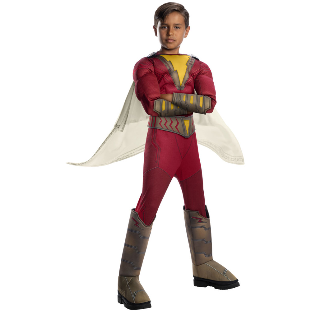 Boys Muscle Captain Marvel Shazam Costume Kids Superman Cosplay Children Superhero Party Cosplay Uniform Child Fancy Jumpsuits