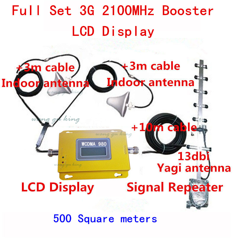 LCD display Mini WCDMA UMTS 3G 2100MHZ Cell Phone Mobile Signal Repeater , 3G Booster Amplifier + 2 indoor Antennas + Cable KitsLCD display Mini WCDMA UMTS 3G 2100MHZ Cell Phone Mobile Signal Repeater , 3G Booster Amplifier + 2 indoor Antennas + Cable Kits