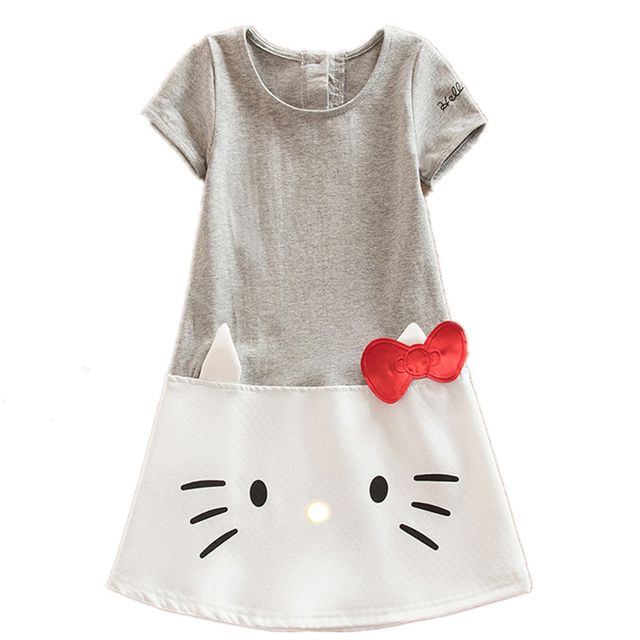 2017 Baby Girls Dresses Hello Kitty Children Clothing For Girls Princess Dress Christmas Kids Clothes