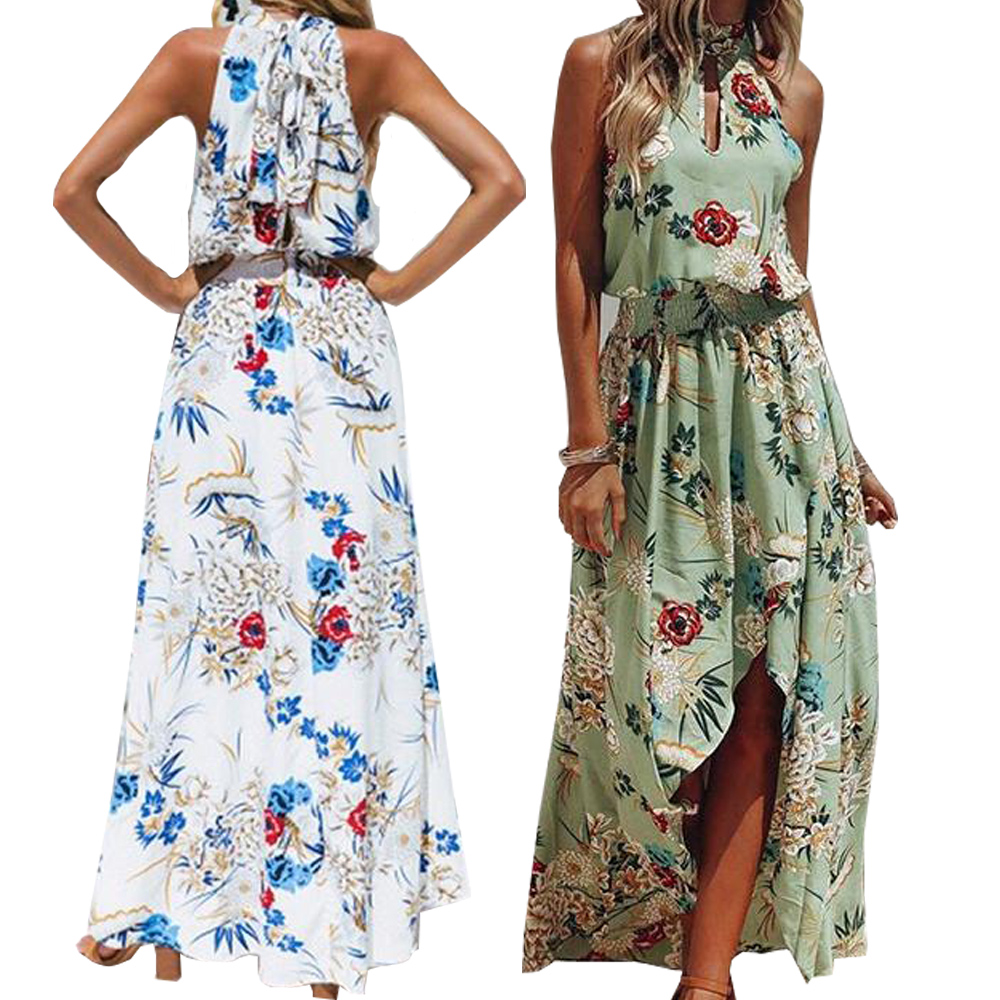 88927425b3e Detail Feedback Questions about bohemian dress with floral print hi low  silhouette halter neck symphony green color summer dress plus size green  white color ...