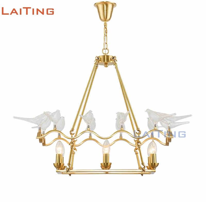 Copper Frame Art Light Fixtures Gold Hanging Lamp Modern Bird Shaped Glass Chandelier +Free shipping