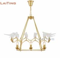 Laiting Lighting Copper Frame Art Light Fixtures Gold Hanging Lamp Modern Bird Shaped Glass Chandelier +Free shipping