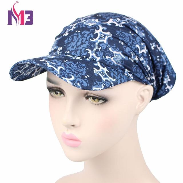 1e24b1ab6ab01 Women Paisley Cotton Sun Visor Hat Pre Fitted Bandana Hat Outdoor Sun  Baseball Cap Head Ponytail