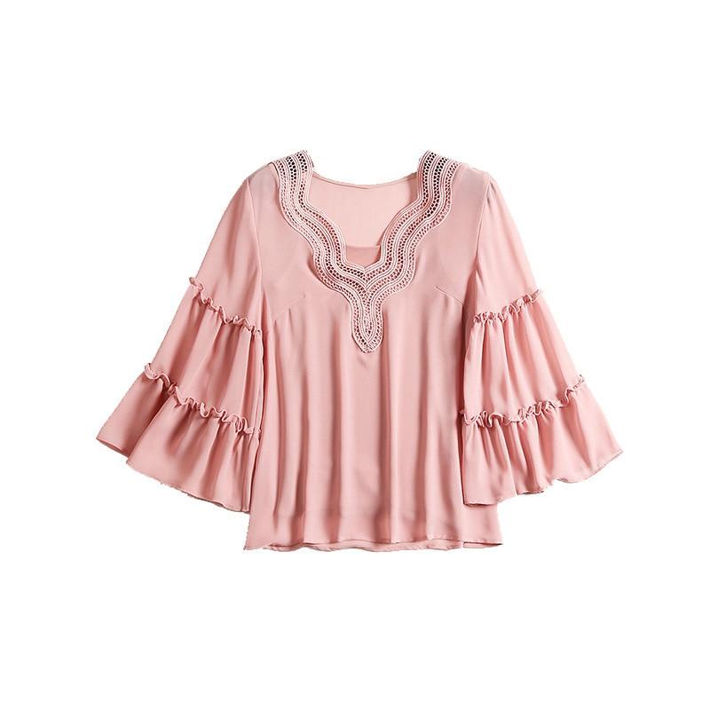 Solide Flare De Vêtements Soie Mousseline Femmes Couleurs Chemises Blouses Dames Tops Manches B027 Blouse Rose Trimestre Tempérament Trois BoWQErxedC
