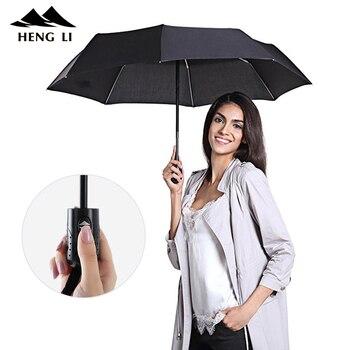 Resistente Al vento Pieghevole Automatico Ombrello Pioggia Donne Maschio Auto di Lusso Grande Antivento Ombrelli Per Gli Uomini di Colore di Pioggia Maniglia Parasole 1