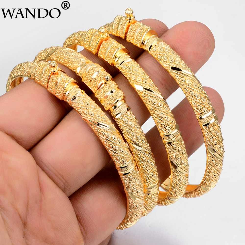 Wando Trendy 24K Gold Colour Bangle for Women/Girl Special Dubai Wedding Bride Bracelet Ramadan Middle East Jewelry Can open B22