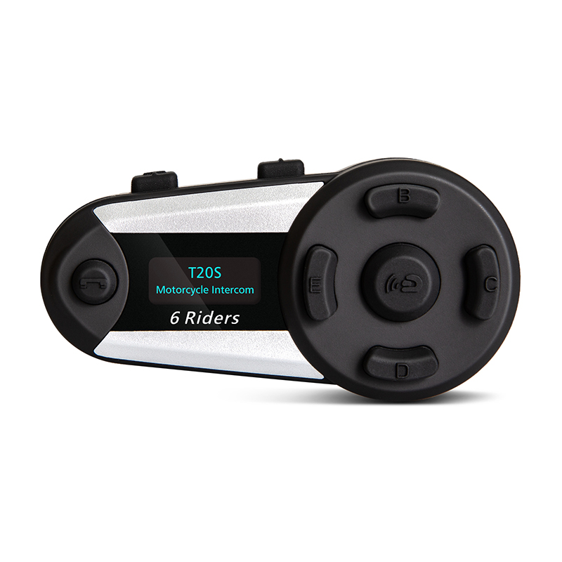 V6 Plus Motorcycle Intercom Bluetooth Helmet Headset  Intercomunicadores De Casco Moto 1200m 6 Riders FM LED 1pcs