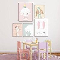 Nordic Kawaii Cartoon Animal Deer Bear Rabbit Poster Baby Kids Room Wall Art Print Picture Canvas