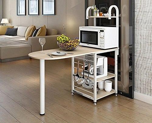Kitchen Bakeru0027s Rack Microwave Oven Stand Storage Cart Workstation Shelf