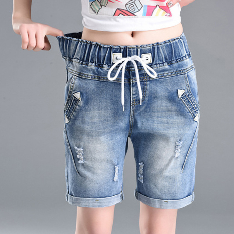 OHRYIYIE Plus Size 6XL High Waist Denim Shorts Women 2020 New Summer Elastic Waist Jeans Shorts Femme Loose Hole Curling Shorts