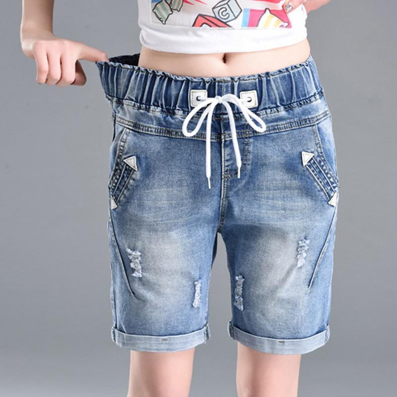 OHRYIYIE Plus Size 6XL High Waist Denim Shorts Women 2020 New Summer Elastic Waist Jeans Shorts Femme Loose Hole Curling Shorts