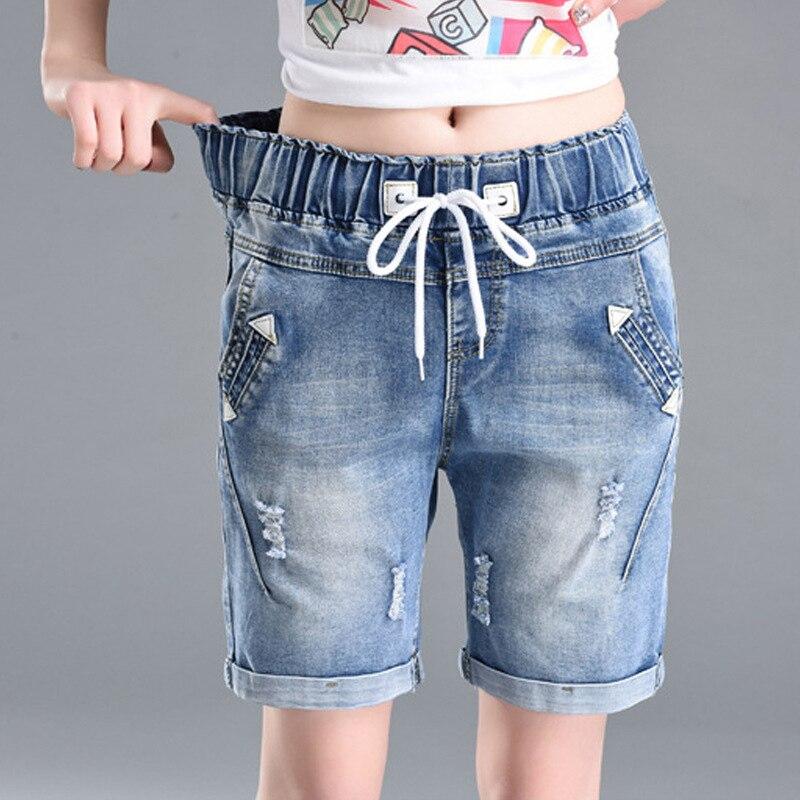 OHRYIYIE Plus Size 6XL High Waist Denim   Shorts   Women 2019 New Summer Elastic Waist Jeans   Shorts   Femme Loose Hole Curling   Shorts