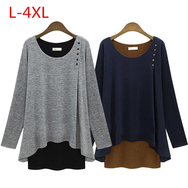 85c663efdb6 False Two Pieces Long Sleeve T-Shirt Women Scoop Neck Double Layer Tunic  Baggy Top Tees Oversize Asymmetry Hem Pullover Blusas