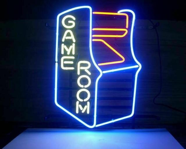 Custom Game Room Arcade Glass Neon Light Sign Beer Bar