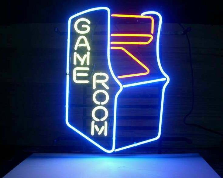 Custom Game Room Arcade Glass Neon Light Sign Beer Bar image