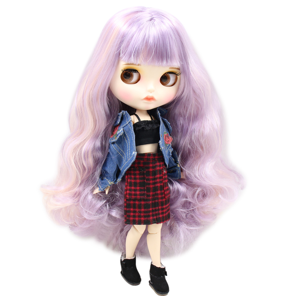 ICY Nude Blyth Doll For No BL1049 2352 1049 Purple mix pink hair Carved lips Matte