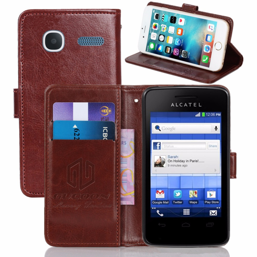 GUCOON Vintage Wallet Case for <font><b>Alcatel</b></font> <font><b>One</b></font> <font><b>Touch</b></font> <font><b>Pixi</b></font> <font><b>4007D</b></font> PU Leather Retro Flip Cover Magnetic Fashion Cases Kickstand Strap image