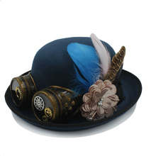 dc094f6450c07 Women Men Fedora Hat 100 Handwork Steampunk Bowler Hat Gear Glasses Magic  Cosplay ...