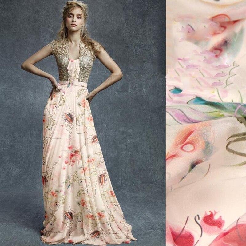 Style américain multicolore imprimé floral 100% soie mousseline de soie tissu pour robe d'été, chemise 8mm soie tissu livraison gratuite SP2779