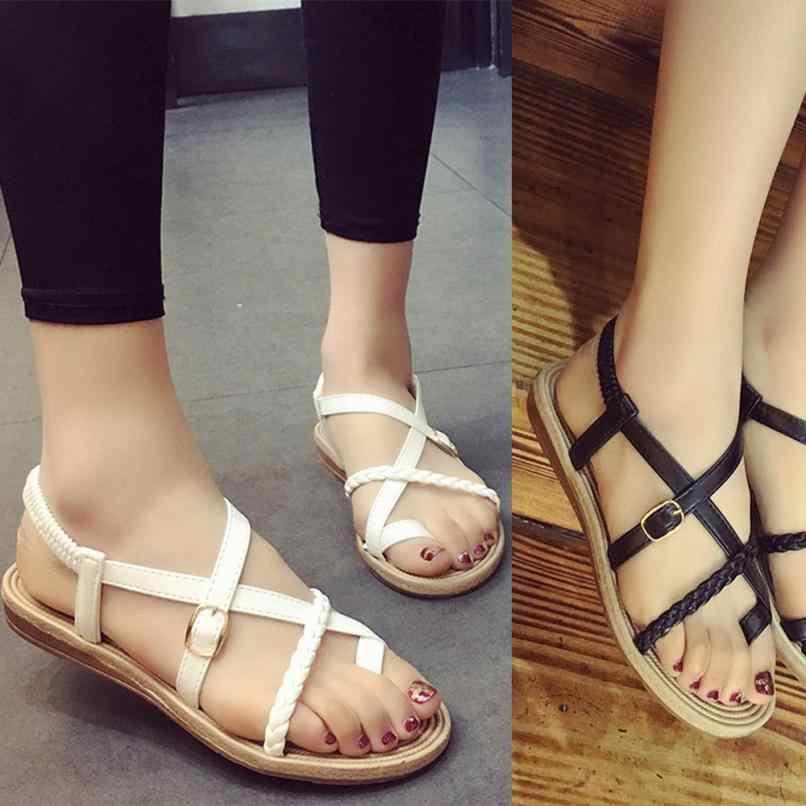 99be4cd478a7 SAGACE Shoes Sandals summer Women Bohemia Bandage Clip Toe Herringbone  Sandals Beach Flat Casual sandals summer