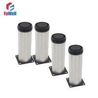 4pcs 300mm Length Furniture Legs Adjustable 15mm Silver Tone Stainless Steel Table Bed Sofa Leveling Foot